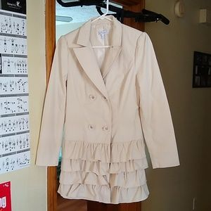Jackets & Blazers - Beautiful Ladies Trench Coat with Ruffles
